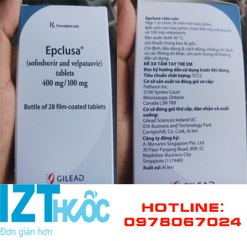 thuốc Epclusa điều trị viêm gan C mới nhất của Ailen Canada, thuốc Epclusa giá bao nhiêu mua ở đâu chính hãng TPHCm Hà Nội